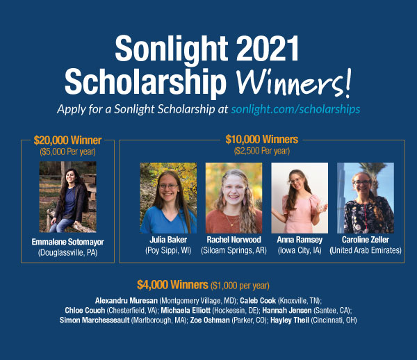 Meet the 2021 Sonlight College Scholarship Winners!