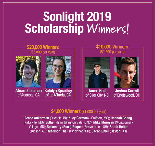 Meet the 2019 Sonlight College Scholarship Winners!