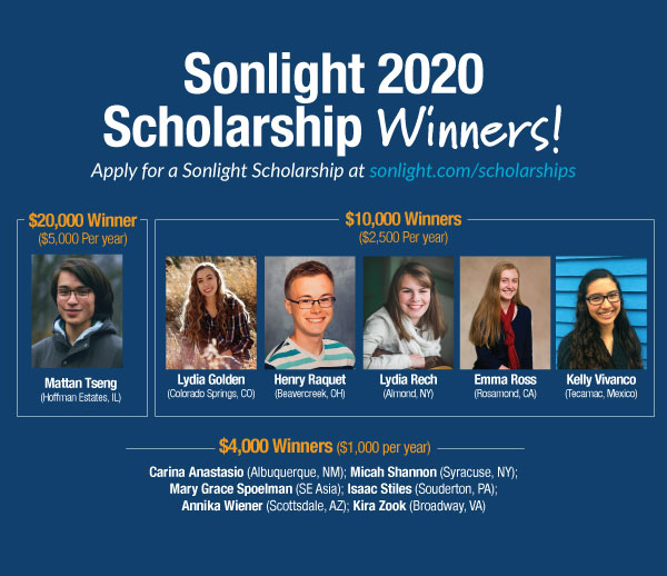 Meet the 2020 Sonlight College Scholarship Winners!