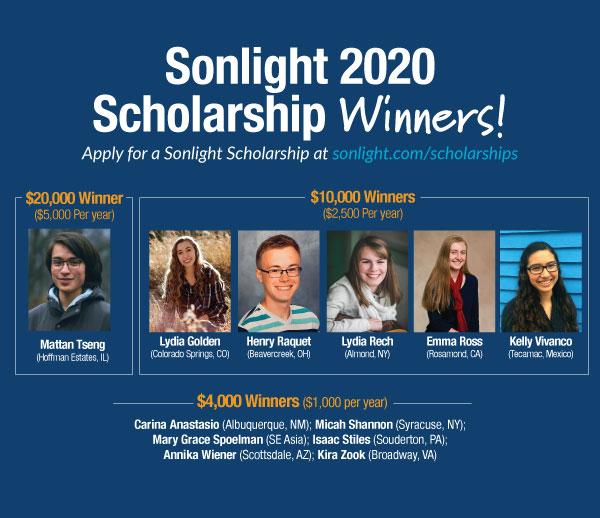 Meet the 2020 Sonlight College Scholarship Winners!