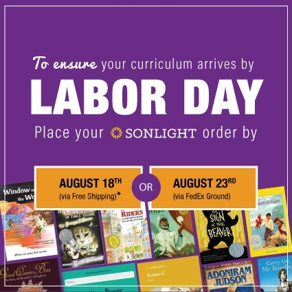 Order by Aug 18 to get your curriculum by Labor Day