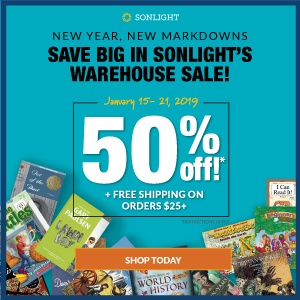 Save big in Sonlight's warehouse sale! 50% off + FREE SHIPPING on orders $25+*