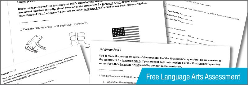 Homeschool Language Arts Assessment (for K-4th grades) | FREE