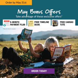Order by May 31st to get May Bonus Offers! Take advantage of these exclusive offers: 6-month Payment Plan, Free Timeline Book, Free canvas tote. Order Today!