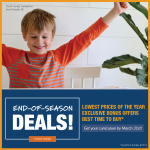 End-of-season sale! Lowest prices of the year, Exclusive bonus offers, Best time to buy. Get your curriculum by March 31st!