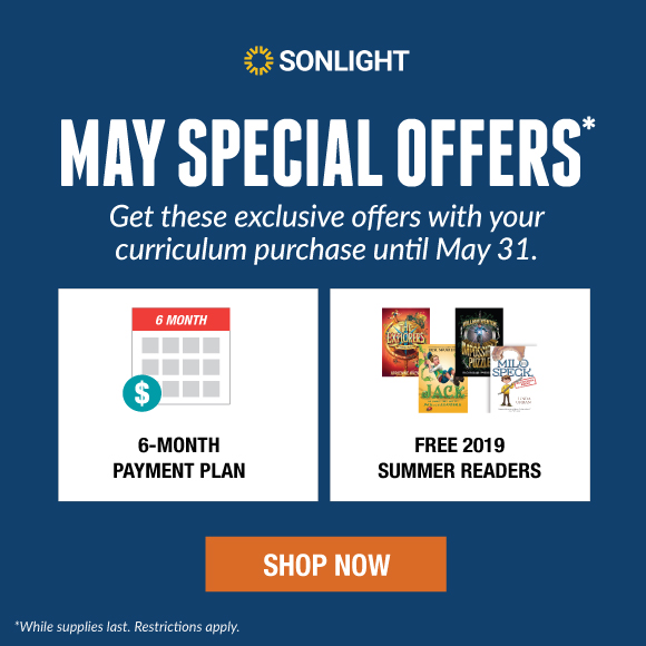 MAY SPECIAL OFFERS! Get these exclusive offers with your curriculum purchase until May 31. 6-Month Payment Plan | FREE 2019 Summer Readers | FREE Canvas Tote