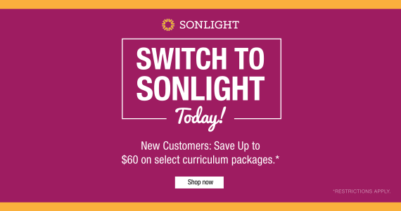 Looking for a new homeschool curriculum? Now is a great time to make a switch. Trade in your current curriculum and save up to $60 on Sonlight!