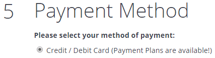 Payment Plan select Credit / Debit Card